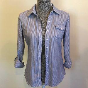 striped button down shirt.